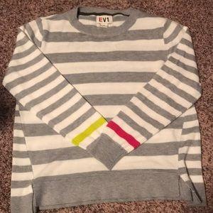 Women's EV1 Gray/White Striped Sweater